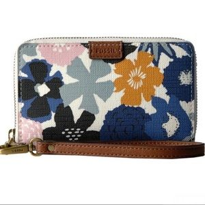 Fossil Emma Navy Floral RFID Smartphone Wallet